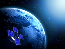 Blue planet earth and satellite in space. With sun lights Royalty Free Stock Photo