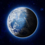 Blue Planet Earth in space, America, USA path of World,. Global blue World with clouds and stars in the dark sky. Elements of this image furnished by NASA Stock Photos
