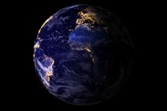 Blue planet earth from space showing America and Africa at night with sparkle glitter city lights, USA, globe world isolated on bl Royalty Free Stock Photo