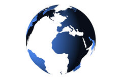 Blue planet earth from space showing America and Africa, USA, globe world with blue 3D render digital Stock Photos