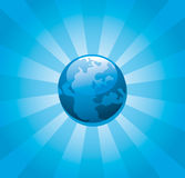 Blue Planet Earth sunburst. Illustration of Planet Earth radiating blue sunburst pattern Royalty Free Stock Photo