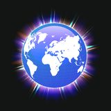 Blue planet earth and world map colorful light beams, vector royalty free illustration
