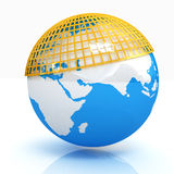 Blue planet earth with a yellow mesh meridians top. On a white background Stock Photography