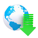 Blue planet with a green arrow Royalty Free Stock Images