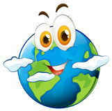 Blue planet with happy face Stock Photo
