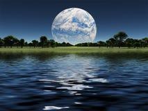Blue Planet on horizon Royalty Free Stock Photos
