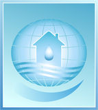Blue planet. house, water. House, drop of wather and planet on a blue background Stock Photo