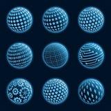 Blue planet icons set. Royalty Free Stock Photo