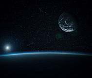Blue planet with moon. Stock Photos