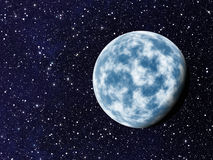Blue planet with one side shadow on cosmos stars backgrounds Stock Images