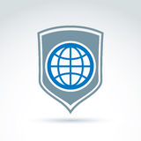 Blue planet placed on a shield, save earth conceptual symbol. Ec Stock Photos