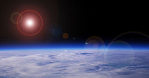 Blue Planet And Red Star Stock Photo