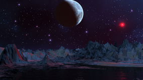 Blue planet and red UFO. In the night star sky blue planet. Nebulas float. Slowly the red being shone object (UFO) flies shining a mountain landscape. Mountains stock video footage