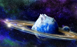 Blue planet with rings and moon Royalty Free Stock Photo