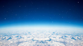 Blue planet sky. Blue planet earth over the cloudy and star in the sky stock photo