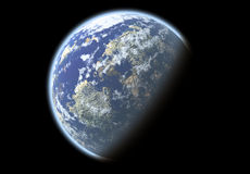 Blue planet in the space Royalty Free Stock Photo