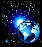 Blue Planet in the space Stock Photo