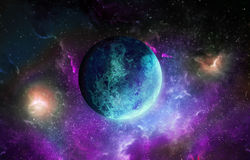 Blue planet on space background. Blue planet on space, background Royalty Free Stock Photo