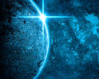 Blue Planet in Space on Stars Background Royalty Free Stock Image