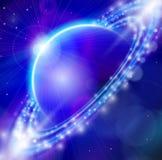 Blue planet, sunrise & stars Royalty Free Stock Photography