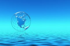 Blue planet in water. Abstraction  illustration with planet Earth Stock Image