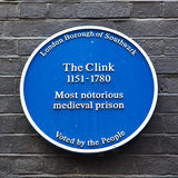 Blue Plaque The Clink Royalty Free Stock Photography
