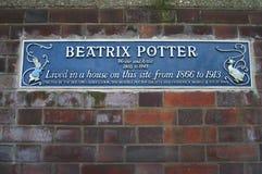 Blue plaque commemorating Beatrix Potter house. Wall Plaque marking the site of Beatrix Potter`s house, London Stock Photo