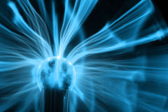 Blue Plasma Ball. A blue energy plasma ball Royalty Free Stock Image