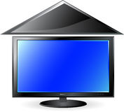 Blue plasma screen under roof Royalty Free Stock Image
