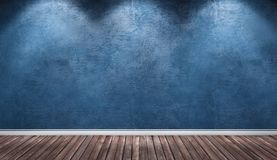 Blue plaster wall, wooden floor interior room. Stock Photography