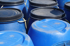Blue plastic 200 litre barrel Royalty Free Stock Photos