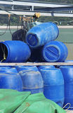 Blue plastic 200 litre barrel Royalty Free Stock Images