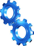 Blue plastic 3D gears Royalty Free Stock Photography