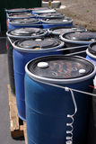 Blue Plastic 55 Gallon Drums Full Of Various Flammable Waste At A Recycling Plant Royalty Free Stock Photos