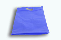 Blue plastic bag isolated over white background Royalty Free Stock Photography