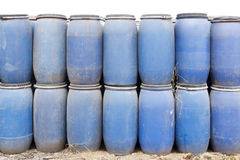 Blue plastic barrels Stock Image