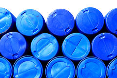 blue plastic barrels containing chemicals Royalty Free Stock Images