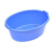 Blue plastic basin. Stock Photos