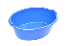 Blue plastic basin, isolated on a white background royalty free stock photos