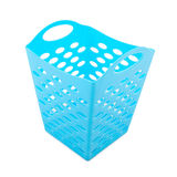 Blue plastic basket isolated Royalty Free Stock Photo