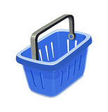 Blue plastic basket for shopping Stock Images