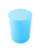 Blue plastic beaker cup isolated. Over the white background stock photography