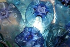 Blue plastic bottles Royalty Free Stock Image