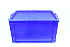 Blue plastic box packaging of finished goods product Stock Photos