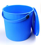 Blue plastic bucket Stock Photo