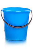 Blue plastic bucket on white Stock Images