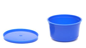 Blue plastic can Royalty Free Stock Images