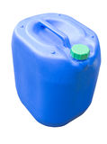 Blue plastic canister. Blue chemical plastic canister with handle isolated on white stock photos