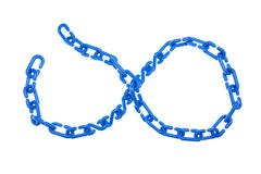 Blue plastic chain put as Infinity isolated Royalty Free Stock Photos