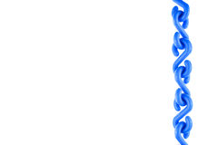 Blue plastic chain put as straight on right isolated Stock Photo